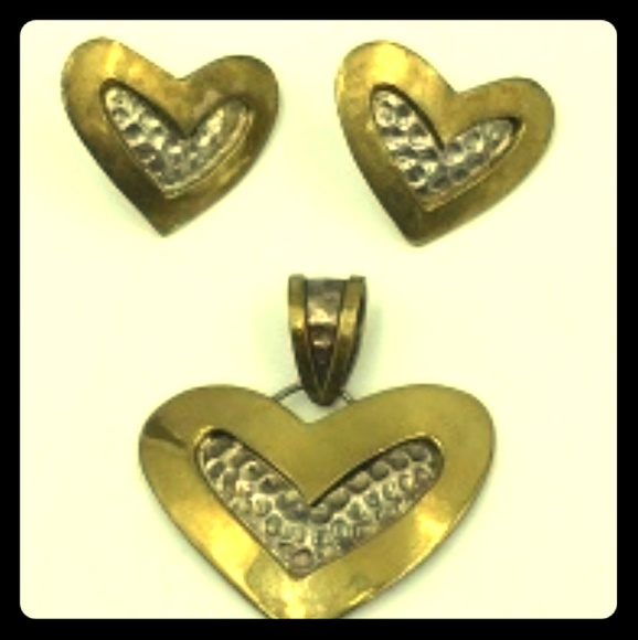 Mexico Silver Jewelry - Brass & Mexico Silver Heart Earrings & Pendant